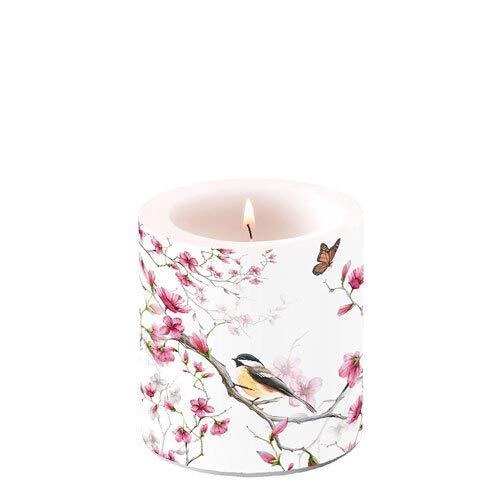 Kerze rund Vogel an pinke Blüten   Frühling   Sommer   Tischdeko Ø 7,5cm, Höhe 8cm