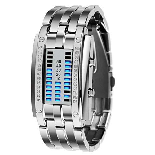 Iron Face Knight Reloj LED Binario Reloj de luz de Doble Fila Reloj electrónico (Lámpara Azul Mujer Plateada)