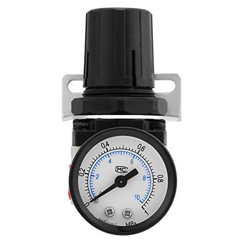AR2000-02 Luftdruckregler, G1 / 4 Luftregler Kompressor Manometer Entlastungsregelventil für Industrie Schwarz Drehform
