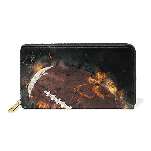 WowPrint Sport Rugby Fire Ball Geldbörse, echtes Leder, große Fächer mit Reißverschluss, lange Geldbörse, Tasche, Kartenhalter für Frauen Damen Mädchen