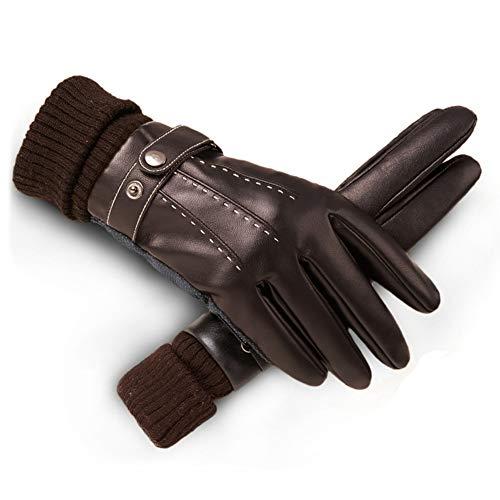 Liuwenju handschoenen van leer voor mannen – winterhandschoenen met touchscreen, voor heren, voering van warme wol, wind- en koud rijden, skiën, klimhandschoenen (zwart), B