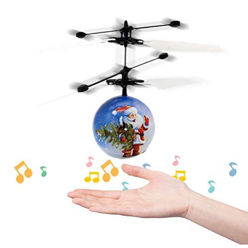 Bola Voladora Navideña, Avión RC de Control de Inducción Seguro con Música y Luz, Juguetes para Niños, Juguete Volador Recargable USB, Helicóptero con Sensor de Infrarrojos, Regalo para Niños