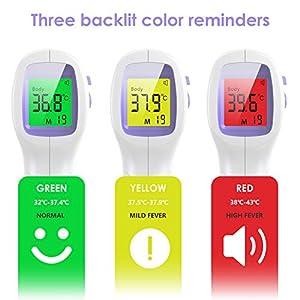 Fieberthermometer IDOIT Digital Kontaktlos Thermometer Erwachsene Baby mit LCD Display Stirnthermometer, 3 Farben Bildschirmanzeige, 99 Daten Speicherfunktion, Fieberalarm