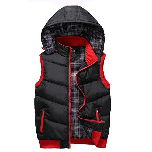 RHSMP Afneembare herenmuts, mouwloos, warme jas, herenvest, maat M-5XL vrijetijdsvest, winterjas met capuchon, vest voor outdoor-activiteiten om te dragen