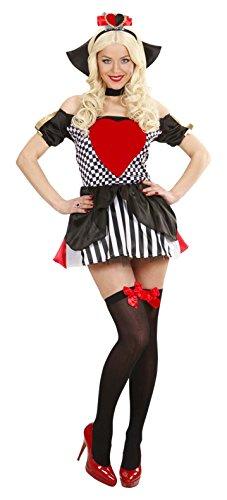 Widmann 76452 - Kostüm Königin der Herzen, Kleid, Stehkragen mit Kette, Kopfbedeckung, Karte, Mottoparty, Fasching, Karneval