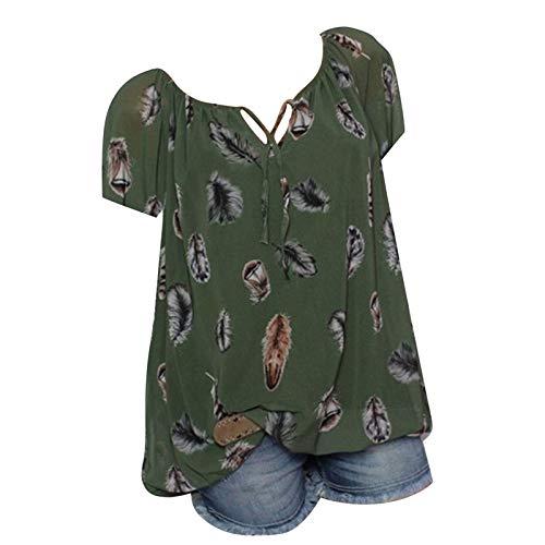 VEMOW Camisetas Mujeres de impresión de Bolsillo más el tamaño de Manga Corta Blusa Easy Top(S1 Verde,M)