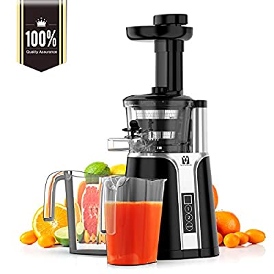 Juicer, Vestaware Slow Masticating Juicer Machines with Two Speed Modes, Easy to Clean Cold Press Juicer with Cleaning Brush for Fruits and Vegetables