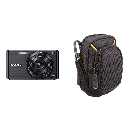 Sony DSC-W830 Digitalkamera (20,1 Megapixel, 6,8 cm (2,7 Zoll) LC-Display, 25mm Carl Zeiss Vario Tessar Weitwinkelobjektiv, SteadyShot) schwarz & AmazonBasics Kameratasche für Kompaktkameras