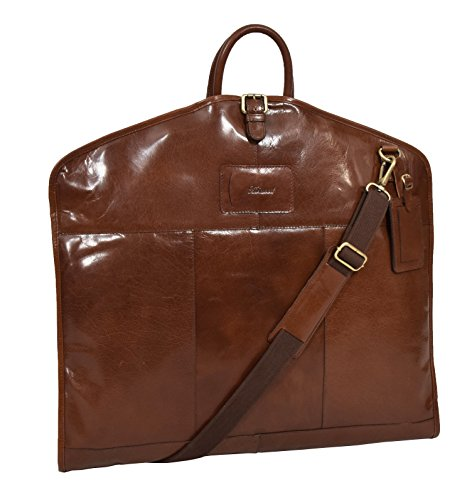 Luxus Leder Anzug Tragetasche Kastanie Suiter Case Kleid Kleiderabdeckung Reisetasche - Finley