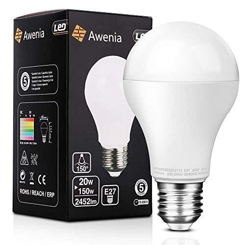 LED Lampe E27 20W (ersetzt 150W) Glühbirne,Tageslicht Weiß (4000K), 2452 Lumens Awenia Lighting, 1 Pack