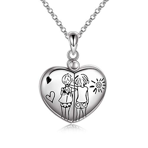 AOBOCO Sisters Locket Necklace Sterling Silver, Sister Birthday Jewelry Gifts Between Big Little Sis