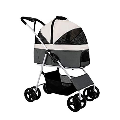 Dpliu Hundwagen für mittelgroße kleine Hunde 40 lbs, faltbares 4-Rad-Haustier/Katzenwagen mit abnehmbarem Träger, atmungsaktiver Hunde-Pram-Großkapazität Net-Tasche (Color : Light Gray)
