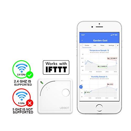 WiFi Monitor de Humedad y Temperatura WS1 de Ubibot, higrómetro termómetro inalámbrico del refrigerador, Registrador de Datos con Alarma de aplicación Gratuita, Android e iOS (2,4GHzWiFi,IFTTT)