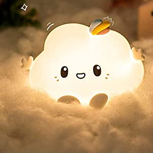Cloud Cute Night Light Kids Girls, Portable Nursery Baby Toddler Glowing Color Changing Stuff Room Decor Toy Touch Led Lights Timer,Squishy Lamps Bedroom Children Boys Valentines Gifts Girlfriend Teen