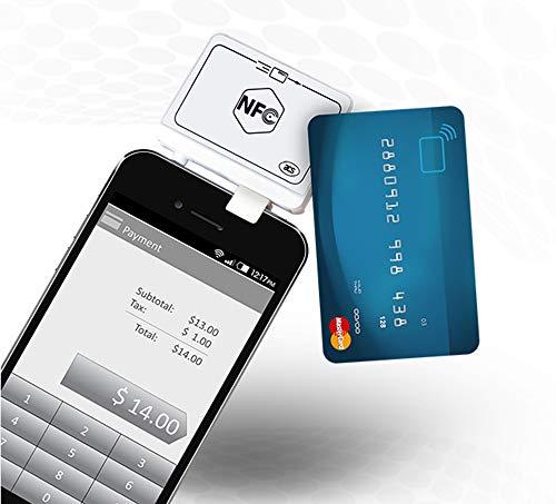 YUHUANG NFC-Kartenleser, Audio-Jack-Magnetkartenleser/mobiler Kreditkartenleser mit kostenlosem SSK-Weiß