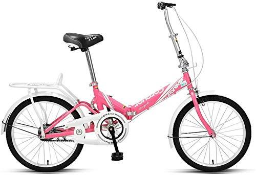 Aoyo Frauen Faltrad, Erwachsene Mini Leichtgewichtler faltbares Fahrrad, High-Carbon Stahlrahmen, Front- und Heckkotflügel, Kinder Urban Commuter Fahrrad, Cyan, 20 Zoll, Größe: 20 Zoll, Farbe: Weiß
