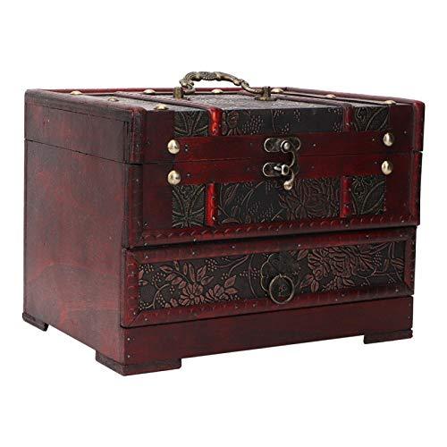 Joyero de Madera Vintage con Compartimentos Soporte de Caja de joyería Collar Pendientes Caja de Almacenamiento Organizador con Espejo