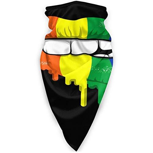 AEMAPE Bufanda Deportiva a Prueba de Viento con Labios de Color LGBT, Bufanda para la Cara, Bufanda mágica al Aire Libre, pasamontañas para niños Adultos, Negro