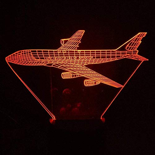 3D-led-nachtlampje, gradient 7 kleurverandering, luchtvaart, modelbouw, decoratie thuis, sfeer, bureaulamp, vliegtuig, verlichting, cadeau.