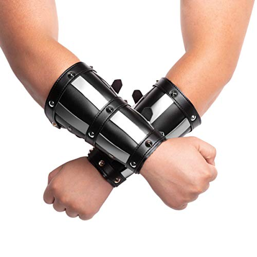 HZMAN Adults Faux Leather Arm Guards Medieval Metal Armor Style Bracers Leather Adjustable Black Armband