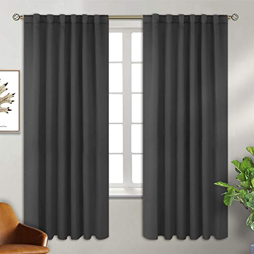 BGment Rod Pocket and Back Tab Blackout Curtains for Bedroom - Thermal Insulated Room Darkening Curtains for Living Room, 2 Window Curtain Panels (52 x 63 Inch, Dark Grey)