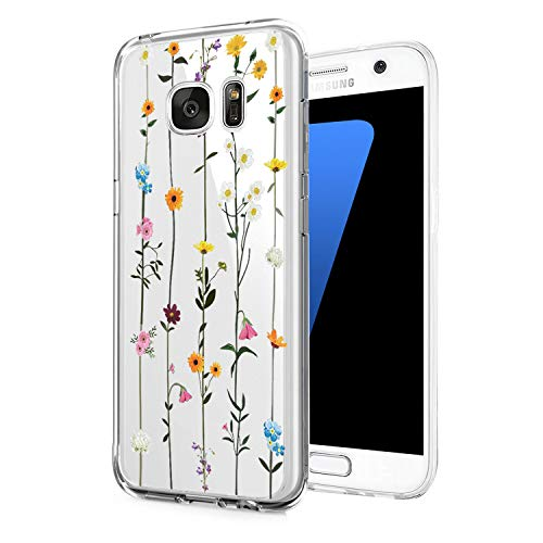 Kompatibel mit Samsung Galaxy S6 Hülle,Crystal Clea Soft TPU Silikon Transparent Ultra Dünn Handyhülle Durchsichtige Floral Schutzhülle Case für Galaxy S6 Edge (5, Samsung Galaxy S6)
