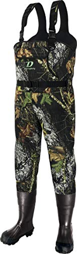 Dark Lightning Camo Neoprene Hunting Waders for Men and Women with Rubber Boots, Mens/Womens High Chest Wader (Neoprene Camo - Rubber Boot, Men 9 / Women 11)