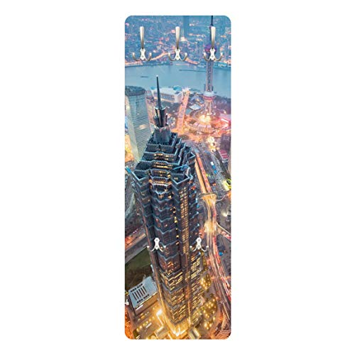 Bilderwelten Appendiabiti - Shanghai 139x46x2cm, Appendiabiti a Muro, Appendiabiti da Muro, Appendiabiti da Parete, Appendiabiti Design, Dimensione: 139cm x 46cm