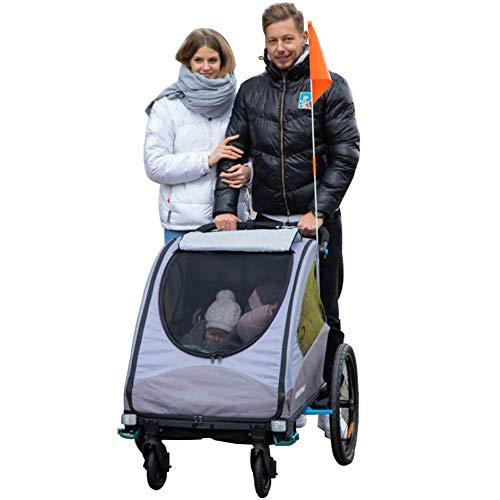 ZXDFG Children Bike Trailer 2 in 1 Jogger Stroller with Suspension Silver Frame Suitable for Flat Roads Or Parks,Grey