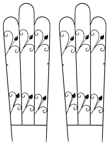 Ruddings Wood Set of 2 x 120cm high Scrolled Leaf Black Metal Garden Trellises Climbing Flower Support Frame Trellis