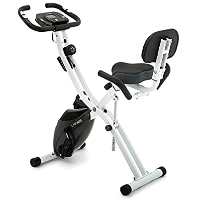 Folding Exercise Bike with 10-Level Adjustable Magnetic Resistance   Upright and Recumbent Foldable Stationary Bike is the Perfect Workout Bike for Home Use for Men, Women, and Seniors (White/Gray)