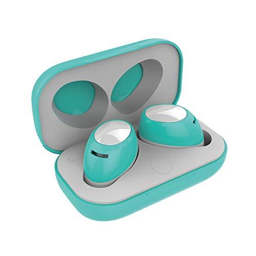 Auriculares Bluetooth True Wireless TWS con Micrófono, Celly BH Twins Air Auriculares Inalámbricos ( In-Ear, Binaural, Intraaural ) sonido Estéreo Control Remoto con Caja de Carga Portátil. Turquesa
