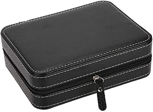 Caja de almacenamiento para relojes de viaje con 4 compartimentos, portátil, con cremallera, para coleccionistas