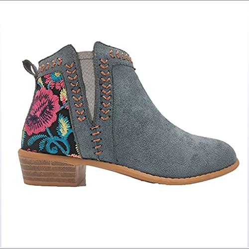WggWy Botas de Tobillo de Las Mujeres, Invierno Bordado Retro Banda elástica Retro Tacones Bajos otoño de Las Mujeres Botas de Invierno tamaño Grande Dama Zapatos Femenino Calzado,Azul,37