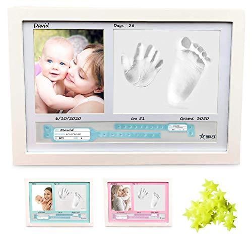 BELF1 marco huellas bebe Regalos originales para bebes recien nacidos con nombre personalizados,datos de nacimiento y huella bebe pie y manos, para padres primerizos y para mamas embarazadas Mod 2021