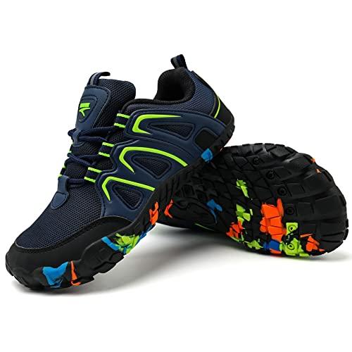 Zapatillas de Senderismo para Niño Caminando Senderismo Niño Niña Zapatillas de Trail Running Montaña Trekking Unisex niños(D Azul Verde,36EU)