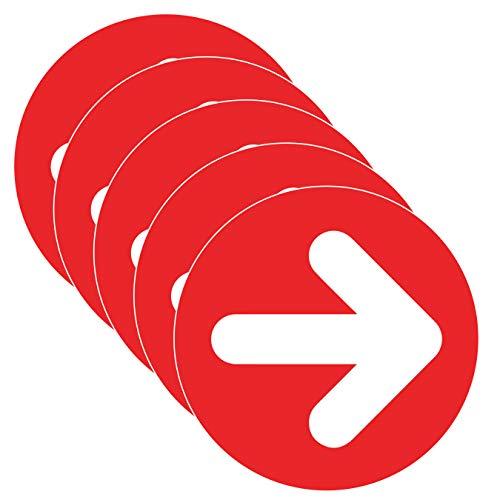 Pfeil-Aufkleber Covid-19 Social Distancing Directional Bodenaufkleber (Größe 22,9 cm) Rot Weiß (5 Stück)