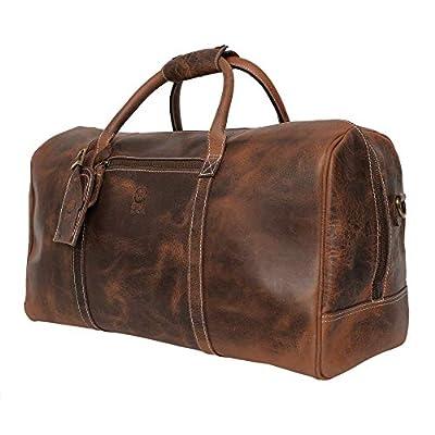 Rustic Town Sac de Voyage Cuir véritable Sasha Grand 50 cm fourre-Tout Besace Week-End Sac Sport Bagages Cabine à Main Marron