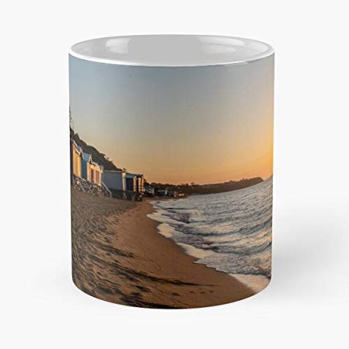 Sheds Mount Martha Bathing Sunrise Sand Beach Summer Sunset Boxes North Boat Best Mug Holds Hand 11oz Made from White Marble Ceramic
