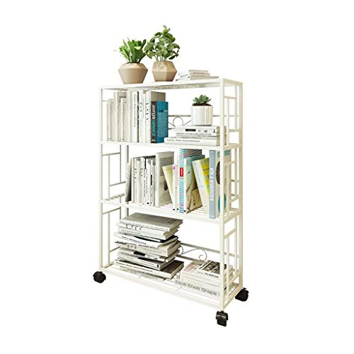 Półka na książki Metalowe 4-warstwowe biblioteczki Wyświetlacz Stojak Metalowa siatka Prosta stojak na buty w pomieszczeniu i na zewnątrz Rack Plant Do Home Office and Retail Store (White) do sypialni