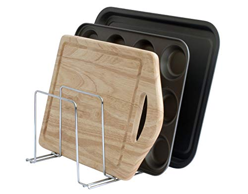 simplywire - Baking Tray & Chopping Board Rack - Pan Storage - Kitchen Cupboard Organiser - Chrome