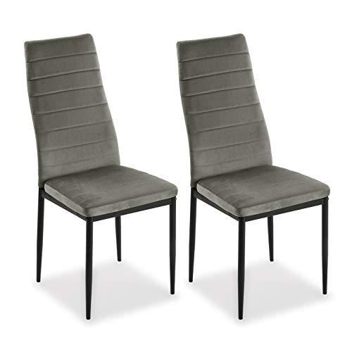 Mimma 21940015 Set de Dos sillas de Comedor de Terciopelo Valentina, Hierro, Gris Claro, 96 x 53 x 43 cm
