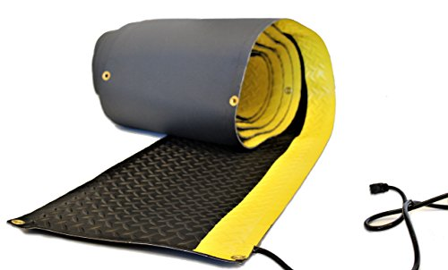 RHS Heated Walkway, Non-Slip Snow Melting mat, Diamond Shape Design for Extra Traction, Safety Bright Yellow Edge, Color Black, Helps Prevent Shoveling Your Walkway, Buy Factory Direct (15' W x 10'L)
