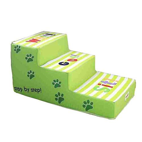 Hyl Escalera para Mascotas Perro Verde De La Escalera Fácil Subir 3 Escalera Plegable For Mascotas Poco Mayor Animal De Compañía Cojín Paso