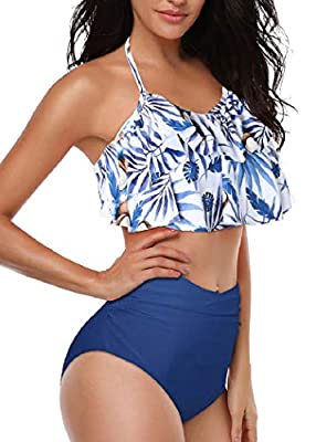 Heat Move Women Retro Flounce High Waisted Bikini Halter Neck Two Piece Swimsuit (XXL, Navy)
