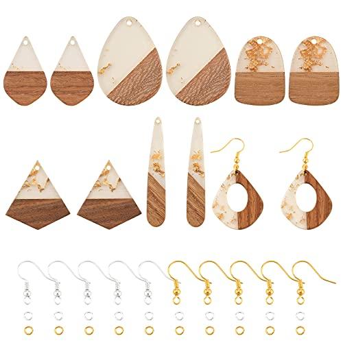 OLYCRAFT 172個 ピアスペンダント 幾何の形 木製 樹脂 自然の木 ペンダント イヤリング ピアス ネックレス ブレスレット フックと丸カン付き DIY 手作り 手芸 アクセサリー パーツ シャンパン 6種類