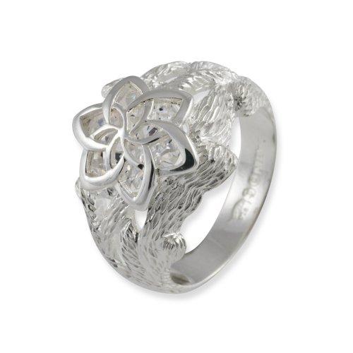 Screwface (1) - 3001-056, Anello in argento sterling con zirconia cubica, bianco, 15 1/4