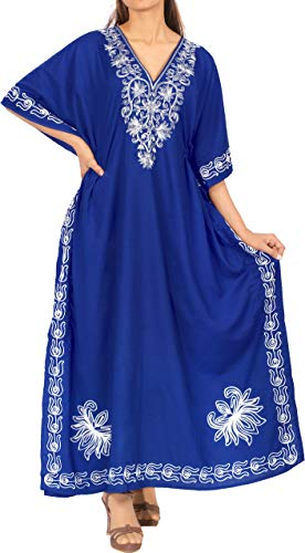 LA LEELA Damska sukienka wieczorowa Kaftan ponczo na imprezę z haftem