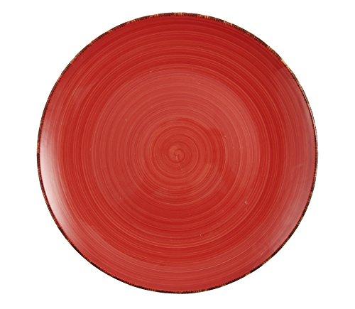Villa D'Este Baita Set Obstteller, emailliertes Steinzeug handbemalt, rot, 6 tlg.