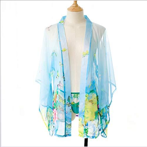 Sexy Unterwäsche - Frauen Lei Mesh Gaze gedruckt Chiffon Perspektive sexy Vintage japanischen Kimono Anzug